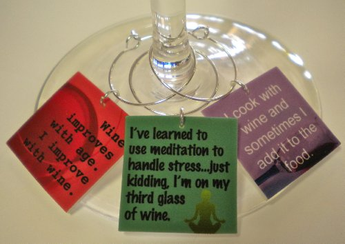 FortySevenGems Set of 6 Funny Wine Quotes #2 Collection Wine Charms Mailed in an Organza Gift Bag