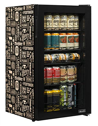 NewAir Beverage Refrigerator Cooler with 126 Can Capacity, Mini Bar Beer Fridge with Right Hinge Glass Door, Cools to 34F, AB-1200BC1, Beers of the World