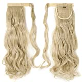 "S-noilite Wrap Around on Ponytail Clip in Ponytails Hair Extensions Human Made Real Natural Synthetic Pony Tail Hairpiece for Women Lady Girls 29 Style Available(17""-curly bleach blonde)"