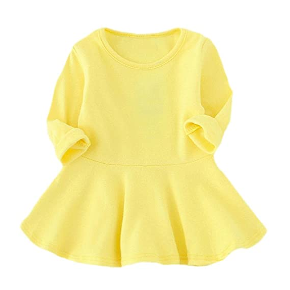 Vestidos Bebe Otoño, 🌸 Zolimx Niñas Bebé Sólido Color Largo de Manga Larga Princesa