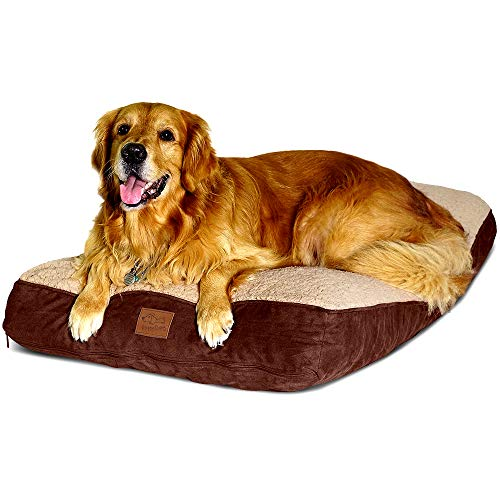 Floppy Dawg Large Dog Bed with Removable, Machine Washable Cover and Waterproof Liner. Classic Pillow Stuffed with…
