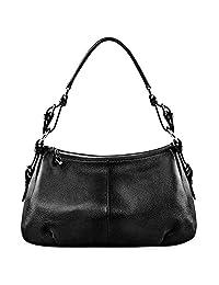 S-ZONE Women Vintage Cow Leather Single Shoulder Top-handle Handbag Ladies Purses