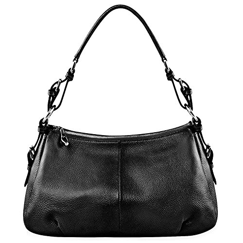 Leather Handbag Hobo Purse (S-ZONE Womens Hobo Genuine Leather Shoulder Bag Top-handle Handbag Ladies Purses)