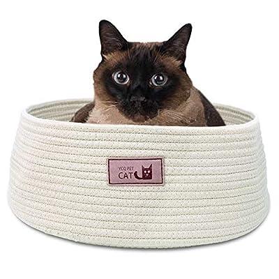 Cat Basket Round Cat Bed Basket Nest Cotton Rope Woven Warm Medium Pet Sleeping...
