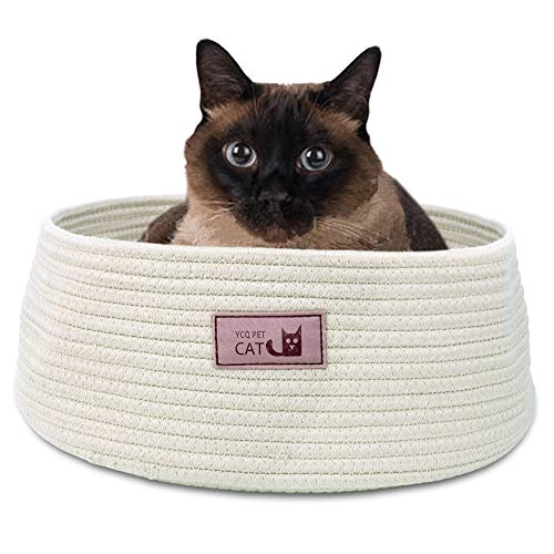 (Round Cat Bed Basket Nest Cotton Rope Woven Warm Medium Pet Sleeping Bed House Nesting Rest Cute Fun Scratcher Scratching Scratch Mat Pad Puppy Small Dogs Indoor Play Eco Washable Winter Summer Beige )