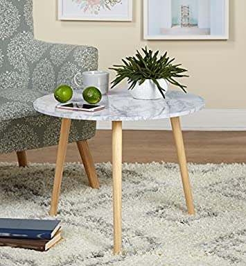Target Marketing Systems Darcy Collection Mid Century Modern Laminated Faux Marble Top Side End Table, White