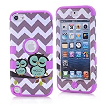 Lantier iPod Touch 5 Case,Lovely Cute Cartoon Wave And Owls Design Hybrid 3 Layer Hard Case Cover with Silicone Inner Shell Case for Apple iPod Touch 5th Generation Purple