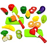 Little Treasures Fruit and Vegetables Play Kitchen Food for Pretend Educational Playset with Toy Knife, Cutting Board (36 Total Pieces)