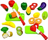 toy fruits and vegetables - Little Treasures Fruit and Vegetables Play Kitchen Food for Pretend Cutting Food Toys - Educational Playset with Toy Knife, Cutting board (36 Total Pieces)