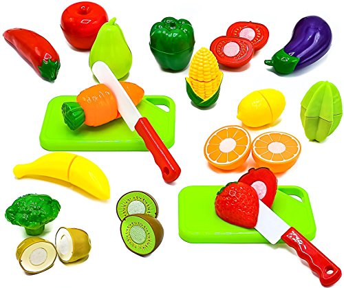 Cut Food - Little Treasures Fruit and Vegetables Play Kitchen Food for Pretend Educational Playset with Toy Knife, Cutting Board (36 Total Pieces)