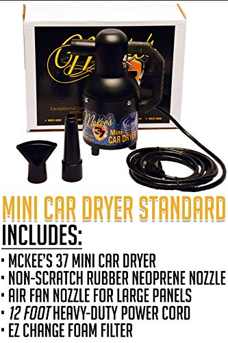 1.3 HP Made in USA. Perfect Sidekick for Bike /& Auto Detailing Mini Car Dryer for Blasting Water from Cracks and Emblems with 12 Foot Cord