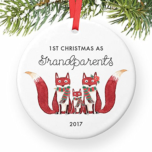 Grandparents Ornament 2017, Fox Ornament Gift for New Grandma & Grandpa, First Christmas Grandmother Grandfather Cute Foxes Ceramic Present Keepsake 3