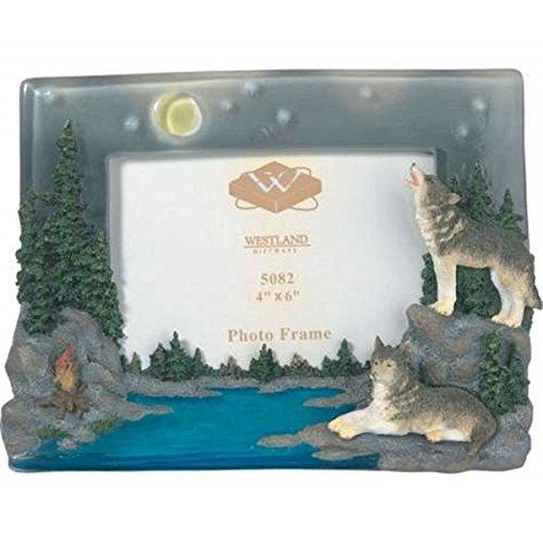 Wolves Howling At The Moon (WL SS-WL-5082 Three Grey Wolves Howling At The Moon Camp Fire Photo Frame, 4