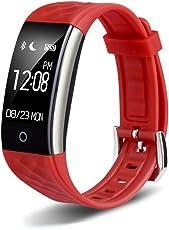 REDLEMON Smartwatch tipo Pulsera Fitband, con Podómetro, Contador de Calorías y Kilómetros, Notificaciones de Mensajería y Llamadas, Monitor de Ritmo Cardiaco, A Prueba de Agua y Polvo, Compatible con Android y iOS. Reloj Inteligente Deportivo tipo Fitbit - ROJO
