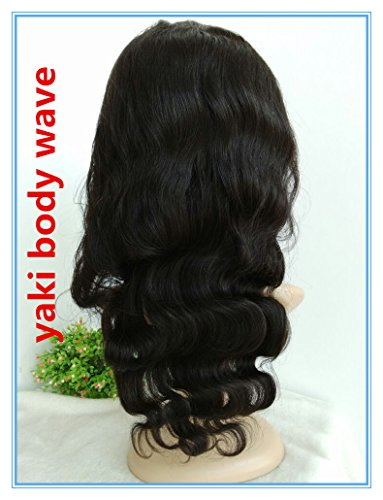100% HUMAN HAIR Indian remy,16inch,off black YAKI BODY WAVE FULL LACE WIGS,SILK TOP -BW0081 by April Silk Top Wigs