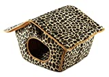 Pet Tent Leopard Print Dog Cat Shelter House Bed Kennel Portable
