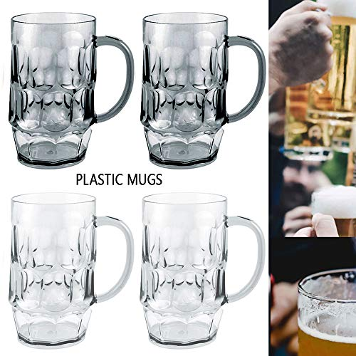 4 Set Plastic Drinking Beer Mugs 26 oz Party Bar Clear Glass Cups w/Handle Gift -