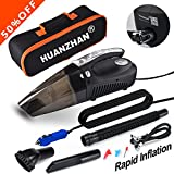Image of Auto Vacuum,4 in 1 Handheld Vacuum--Portable Vacuum HUANZHAN Wet/Dry DC 12V 100W High Power Car Vacuum Cleaner,With Tire Inflator,Tire Pressure Gauge ,Floodlight -Upgraded(Matte Black )