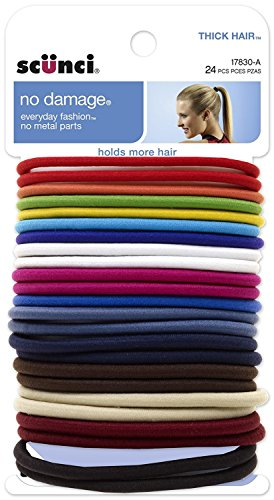 Scunci No Damage Effortless Beauty Thick Hair Elastics, 24-Count ()