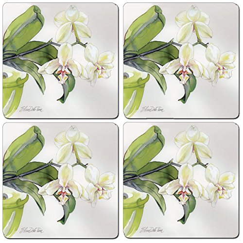 - Cala Home Set of 4 Hardboard Coasters, White Orchid