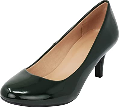 ed94676953823 Cambridge Select Women's Classic Round Toe Kitten Heel Dress Pump