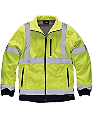 Mens Hi Vis Waterproof Softshell Work Jacket