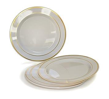 \u0026quot;OCCASIONS\u0026quot; Disposable Plastic Plates Ivory/Bone with Gold rim (120  sc 1 st  Amazon.com & Amazon.com: \