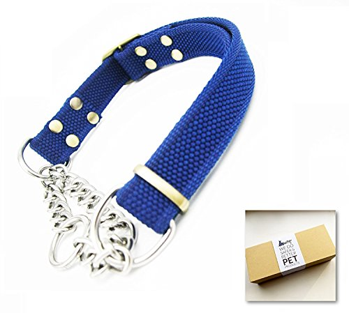 WePet Stainless Steel Nylon Chain Martingale Collar Comfort Heavy Duty Large Dog Collar Escape Perfect For Training Walking Running and High Activities 250lb Pull Proved (Blue Collar)