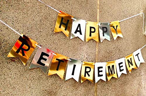 Retirement Party Decorations HAPPY RETIREMENT Banner with Retired Sash Black Grey Gold Tissue Pom Pom Paper Lanterns Retirement Party Supplies Retirement Decorations Wcaro