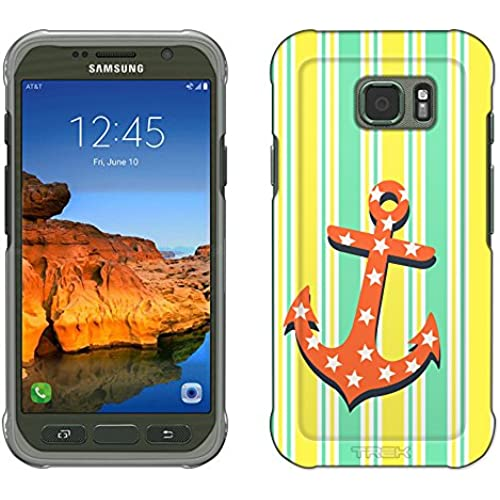 Samsung Galaxy S7 Active Case, Snap On Cover by Trek Anchor on Yellow Stripes Slim Case Sales