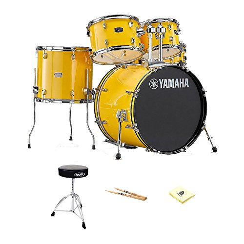 Yamaha RDP0F5YL Rydeen Drum Kit in Mellow Yellow with Zildjian Vic Firth American Classic 5A Drum Sticks, Mapex T270A Double Brace Round top Drum Throne and Zorro Sounds Drums Polishing Cloth