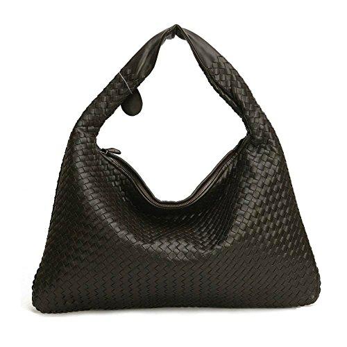 - COMO 8809 Women's Woven Hobo Handbag Shoulder Bags Tote Purses Leather Tote Messenger Bag (Dark Choco)