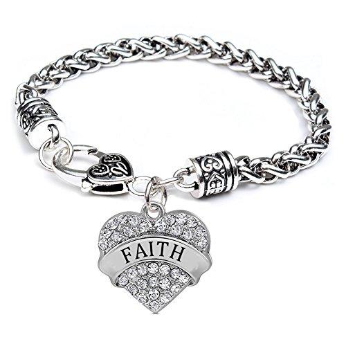 Faith Heart Bracelet (Heart Faith Bracelet for Women Girl Silver Jewelry Charm - White Crystal)