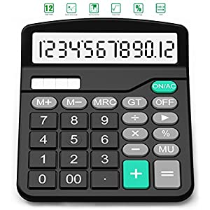 Calculator, Splaks Standard Functional Desktop Calculator Solar and AA Battery Dual Power Electronic Calculator with 12-Digit Large Display
