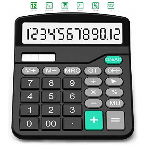 Calculator, Splaks Standard Functional Desktop Calculator Sola and AA Battery Dual Power Electronic Calculator with 12-digit Large Display