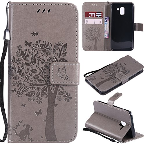 Galaxy J6 2018 Case, Lacass Cat Tree Pattern PU Leather Flip Wallet Case Cover Kickstand with Card Slots and Wrist Strap for Samsung Galaxy J6 (2018) - Gray
