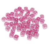 Dovewill Pack of 50 Plastic Spot Dices D6 for Table Card Game RPG MTG Games Props Gift DIY 0.62inch Pink