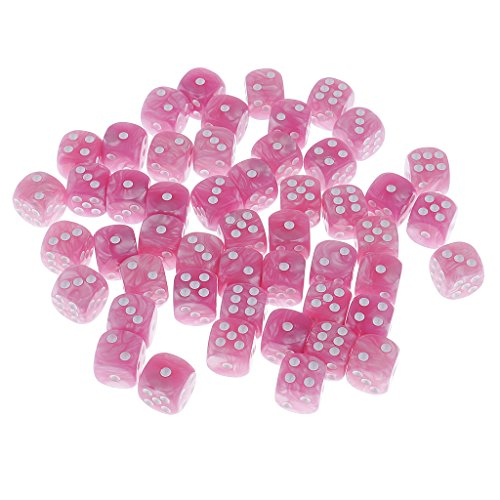 Dovewill Pack of 50 Plastic Spot Dices D6 for Table Card Game RPG MTG Games Props Gift DIY 0.62inch Pink by Dovewill