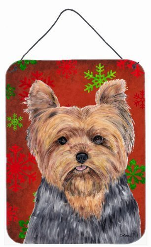 Carolines Treasures Yorkie Red and Green Snowflakes Holiday Christmas Wall or Door Hanging Prints 16 x 12 Multicolor