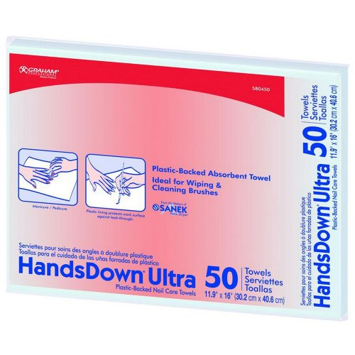 Graham Hands Down Ultra Plastic-Backed Nail Care Towels, 50 Count