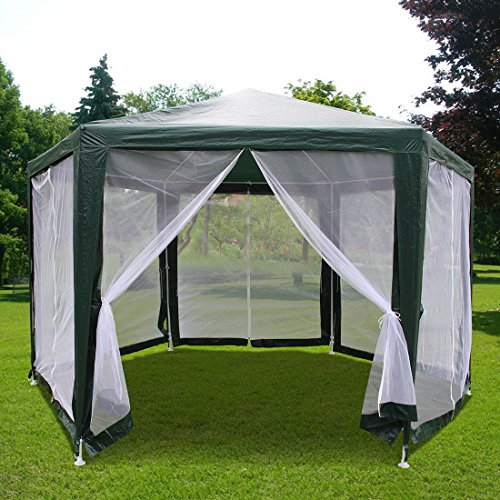 Quictent 6.6u0027x6.6u0027x6.6u0027 Outdoor Hexagon Canopy Party Tent Gazebo Sun Shade  Shelter Screen House With Fully Enclosed Mesh Side Wall Green