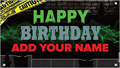 Price comparison product image Caution Brick Custom Birthday Banner - Personalize with your Name