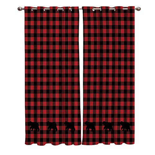 Window Treatments Curtains Room Window Panel Set for Living/Dining/Bedroom, Buffalo Check Plaid Bear Applique 52 by 63 Inch, 2 Panels (Plaid Curtains)