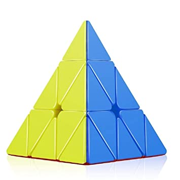 Mahvi Toys High Speed Colorful Triangular Pyramid Shaped Stickerless Rubix Cube (Multicolor)