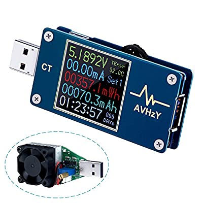 AVHzY USB Power Meter Tester USB Load Current Tester Voltage Detector DC 5A 25V Digital Power Meter Test Speed of Charger, Cables, Capacity of Power Bank, PD 2.0/3.0 QC 2.0/3.0/4.0 or pps Trigger