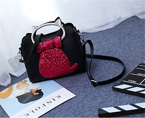 Handbags Cat Purse floral handkies Satchels FTSUCQ Shoulder Casual Messenger Kitty Black 3PCS Bag Satchels Hobos Womens EwqqxOfRPX