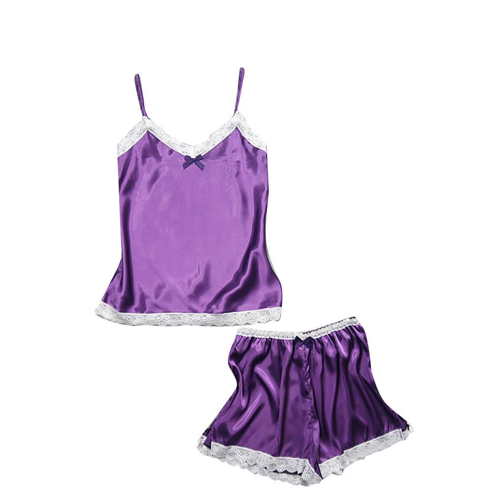 Womens Sleepwear Lingerie Lace Satin Sling Sleepwear Top Shorts Pajama Set Nightdress Underwear (XXL, Purple)