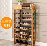 Best to Buy Multifunction wooden 7 Tiers Shoe Rack Micro Fabric Shoe Rack Storage Organizer & Hallway Bench Fabric Entryway Closet Cabinet Stackable Shoe Storage Organizer Shelves (Wood)