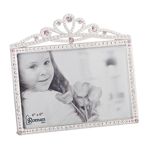 Princess Crown Rhinestone Encrusted 6 x 5.5 inch Zinc Alloy Table Top Picture Frame]()