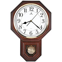 JUSTIME Traditional Schoolhouse Easy to Read Pendulum Plastic Wall Clock Chimes Every Hour With Westminster Melody Made in Taiwan, 4AA Batteries Included (PP0258-W Wooden Grain)